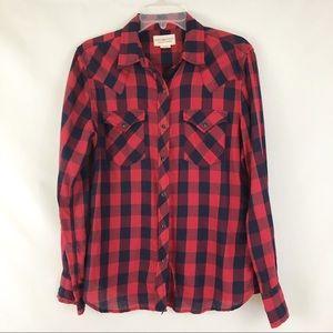 Denim & Supply Red Blue Plaid Snap Front Shirt L